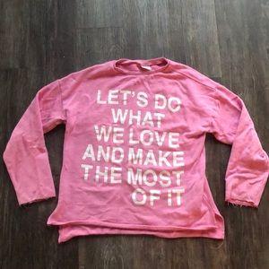 Long sleeve pink sweatshirt
